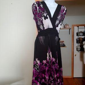 Black and purple midi dress